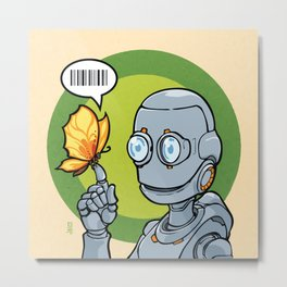 Robot and... Butterfly (Orange) Metal Print