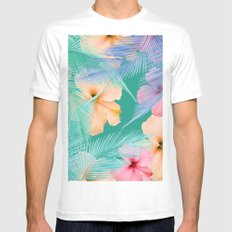 tropical pattern Mens Fitted Tee White SMALL