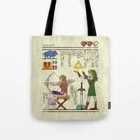 hyrule Tote Bags featuring hero-glyphics: Hyrule History by Josh Ln