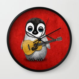 Musical Baby Penguin Playing Acoustic Guitar on Deep Red Wall Clock