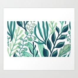 UniCorn Leaves Pattern Art Print