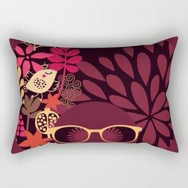 Afro Diva : Sophisticated Lady Deep Pink & Burgundy Rectangular Pillow