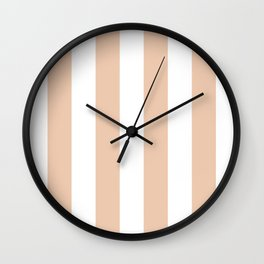 Vertical Stripes - White and Desert Sand Orange Wall Clock