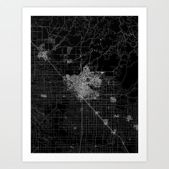 Fresno map Art Print