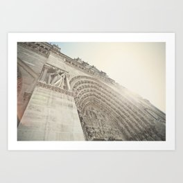 Bathed in sunlight at the Notre Dame, Paris, France Art Print