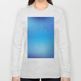 Circuit board on blue gradient background Long Sleeve T-shirt