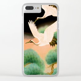 Furisode with cranes flying over pine branches (Japan) Clear iPhone Case