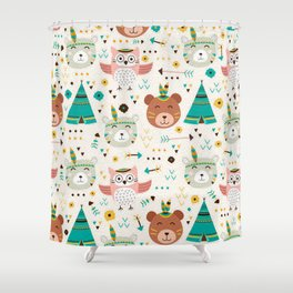 Boho Forest , Woodland Critters Shower Curtain