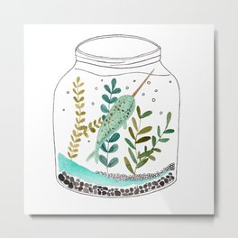 Narwhal in a jar Metal Print