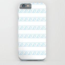 Mint blue Greek wave pattern iPhone Case