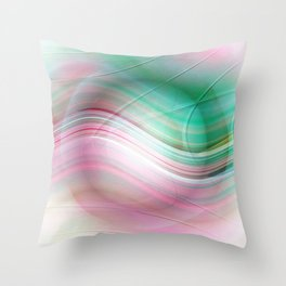 Abstract cricle green and pink Throw Pillow