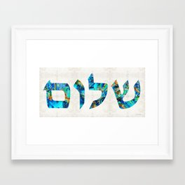Shalom 19 - Jewish Hebrew Peace Letters Framed Art Print