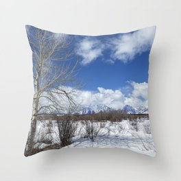 Grand Tetons from Willow Flats with a Tree Throw Pillow