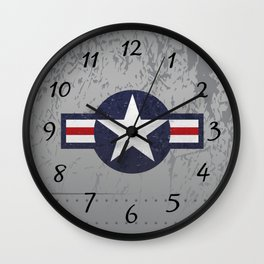 U.S. Military Aviation Star National Roundel Insignia Wall Clock