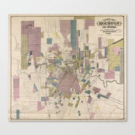 Vintage Map of Houston Texas (1895) Canvas Print