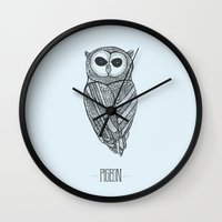 pigeon Wall Clocks featuring PIGEON by JeremyG