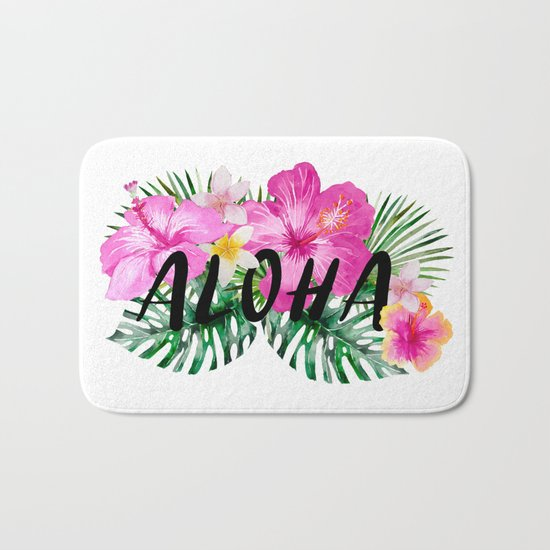 ALOHA - Tropical Flowers, Palm Leaves and Typography Bath Mat