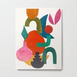 'Oh God I Promise' Abstract Geometric Shapes Paper Collage Colorful Arrangement Mid Century Modern Cool Funky Style by Ejaaz Haniff Metal Print