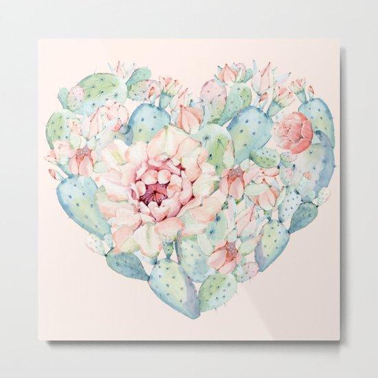 Cactus Rose Heart on Pink Metal Print