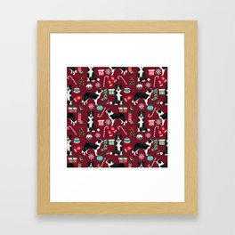Border Collie christmas stockings presents holiday candy canes dog breed pattern Framed Art Print