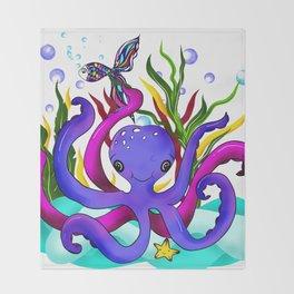 Octopus illustration Throw Blanket