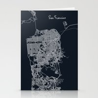 san francisco map Stationery Cards featuring San Francisco Map by chiams