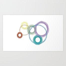 Circels in rainbow colors, watercolor art Art Print