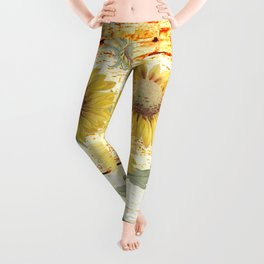 Country Sunflowers on wood Leggings