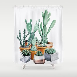 Potted Cacti Shower Curtain