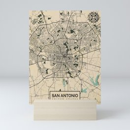 San Antonio City Map of Texas, USA - Vintage Mini Art Print