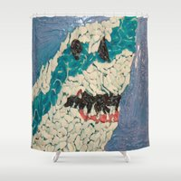 jaws Shower Curtains featuring Jaws by Emily Condie