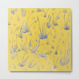 Dandelion Field - Yellow and Blue Metal Print