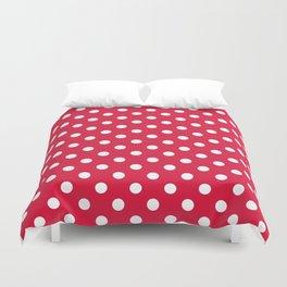Small Polka Dots - White on Crimson Red Duvet Cover