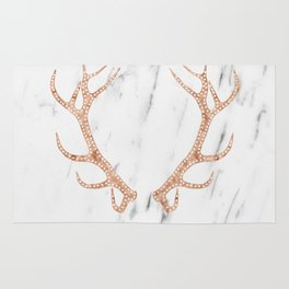 Rose gold antlers on soft white marble Rug