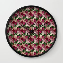 doily rose pattern red Wall Clock