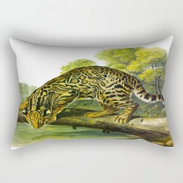 Leopard Cat Vintage Illustration y John James Audubon Rectangular Pillow