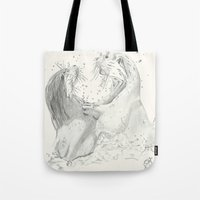 otters Tote Bags featuring Playful Otters  by Jennifer Golla Art