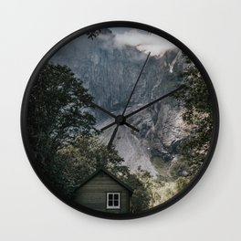 Mountain Cabin - Landscape and Nature Photography Wall Clock