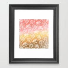 Paisley floral lace elephants illustration pink brown boho watercolor Framed Art Print