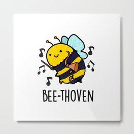 Bee-thoven Cute Musical Bee Pun Metal Print