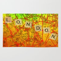 london map Area & Throw Rugs featuring London Map by Joe Ganech