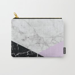 Geometric White Marble - Black Granite & Light Purple #388 Carry-All Pouch