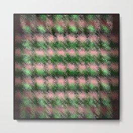 Plaid Fall Design/Green and Pink Metal Print