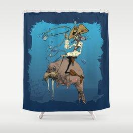 Cowboy Rides the Horse-Whale Shower Curtain