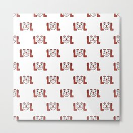 Funny Emoji Laughing Out Loud Pattern Metal Print
