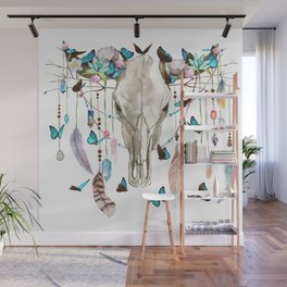 Butterfly Cow Skull Spirit Gazer Wall Mural