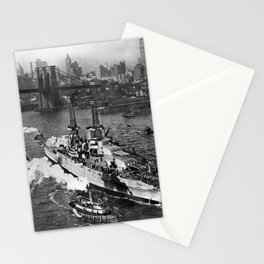 USS Arizona on the East River - NYC - 1916 Stationery Cards
