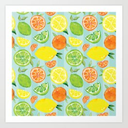 Zesty Citrus Pattern Art Print