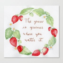 Strawberry Watercolor wreath with a positive hand lettered quote Canvas Print