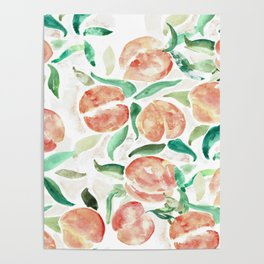 Watercolor Peaches Poster